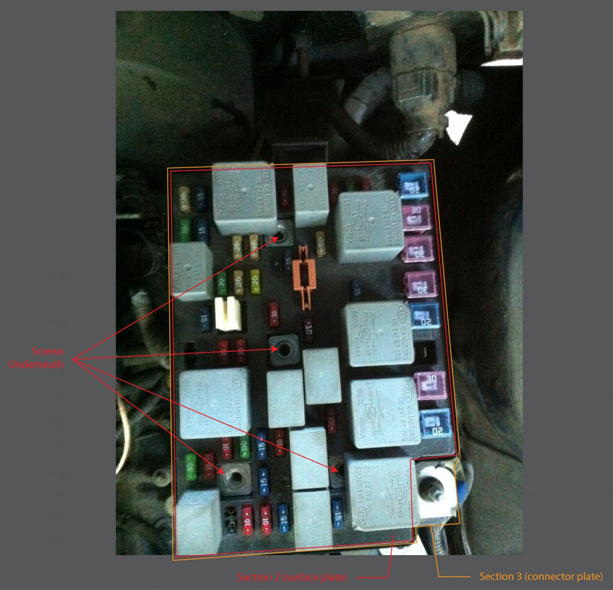 02 Kia Spectra - Engine Compartment Fuse Box Removal? | Kia ForumKia Forum