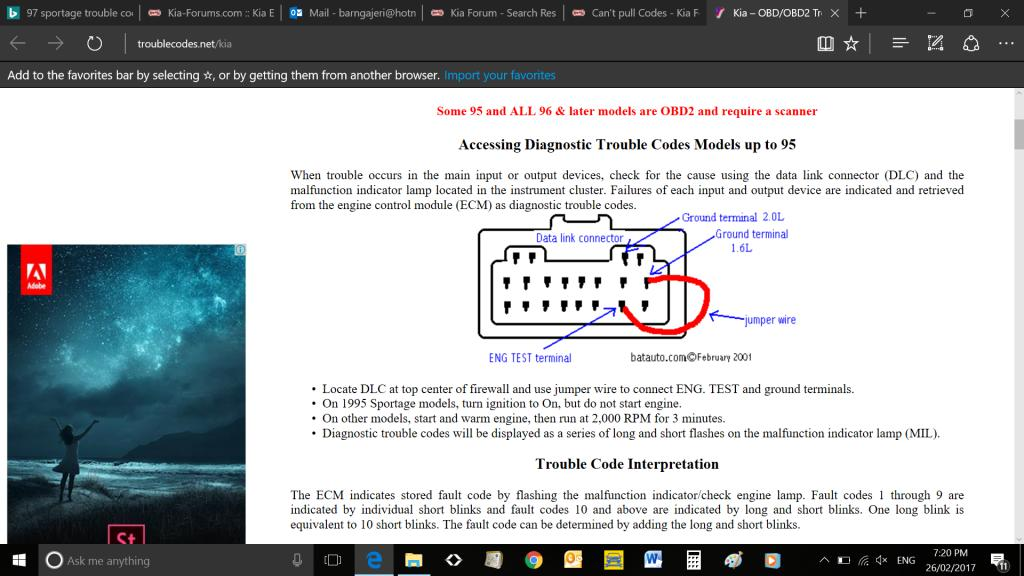 Retrieving Trouble Codes Manually Kia Forum – Kia Spectra Obd2 Ecm Wiring