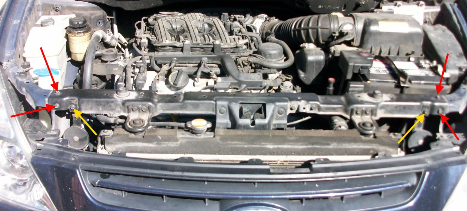 Diy Replacing The Frontleft Valve Cover Gasket Part I Kia Forum 2007 Hyundai Entourage Wiring Diagram Click Image For Larger Version Name Radiator Support2 Views 5347 Size