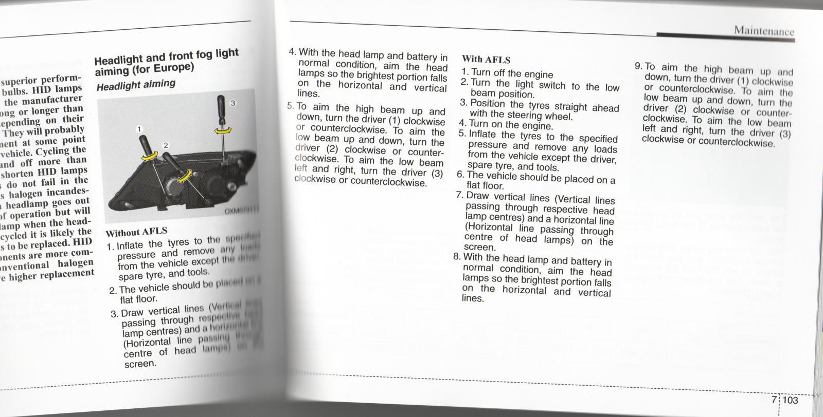Kia Optima: Headlight Aiming Adjustment